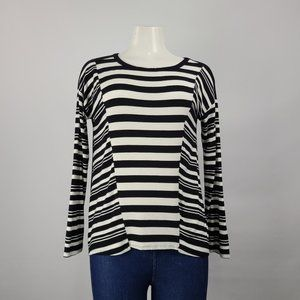 Cable & Gauge Black Striped Long Sleeve Top Size S